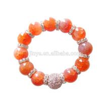 12MM Big Fashion Bling Rhinestone Orange Agate Gem Stone Beaded Bracelet For Party