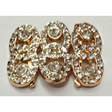 Fine Finishing Alloy Shoe Buckle with Rhinestone