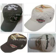Ejército de diseño de la impresión y bordado plano sombrero gorra militar superior