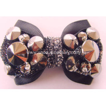 Hot-sell Fabric Shoe Flower with Cone Beads Silver Plated and Glitter Thread