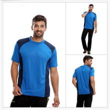 Mens Polyester / Baumwolle Plain Round Neck T-Shirt