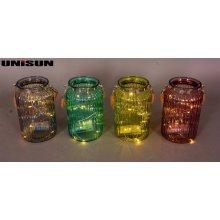 Decoración de muebles Artesanía de vidrio ligero con cadena de cobre LED de iluminación (9107)