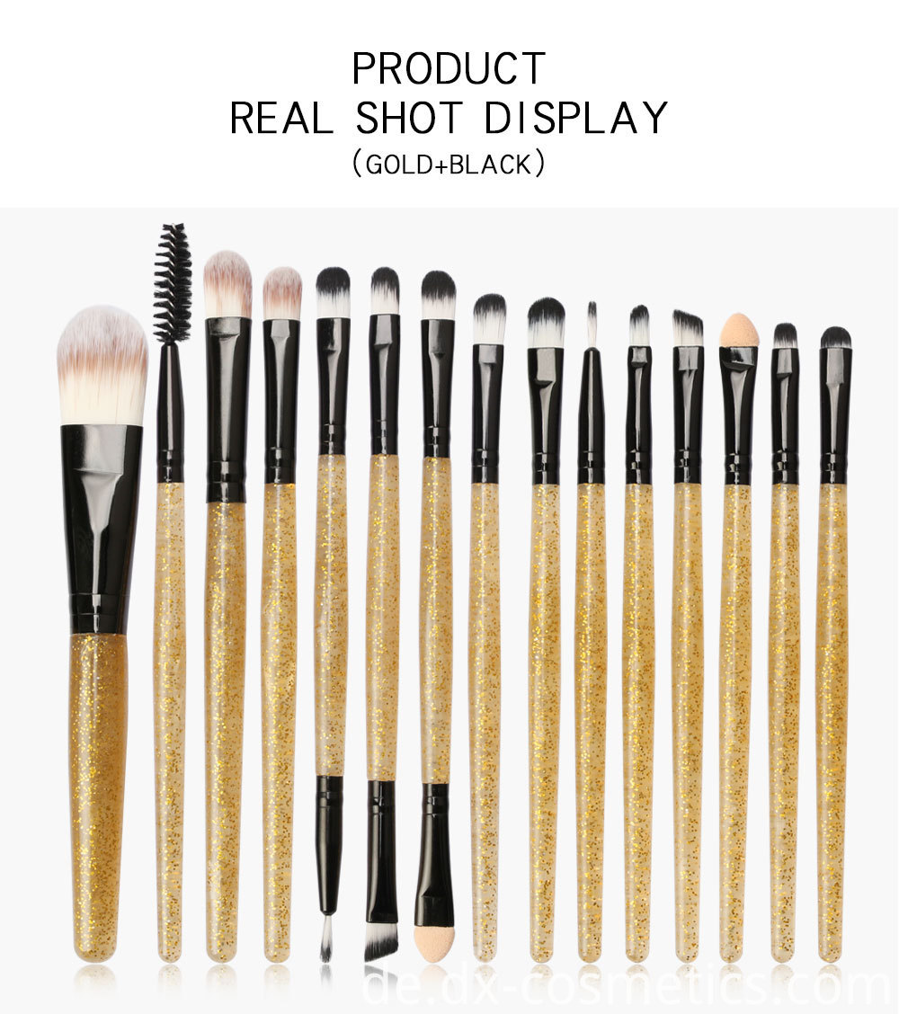 15 Pieces Crystal Travel Makeup Brushes Set 5