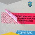 Alta calidad abierta vacía etiqueta de seguridad inválida desgarrada personalizada