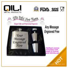 FDA 7oz divertido con monograma frasco con vidrio de tiro 4 y 1 embudo