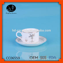 bulk tea cup and saucer ,SGS/LFGB/FDA certification tea cup and saucer,wholesale cup and saucer with silver rim