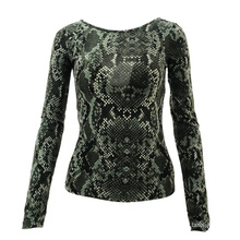 Ladies' Hot Sale Snake Print Long Sleeve Skinny Sexy Fashionable Women Top sweater shirt