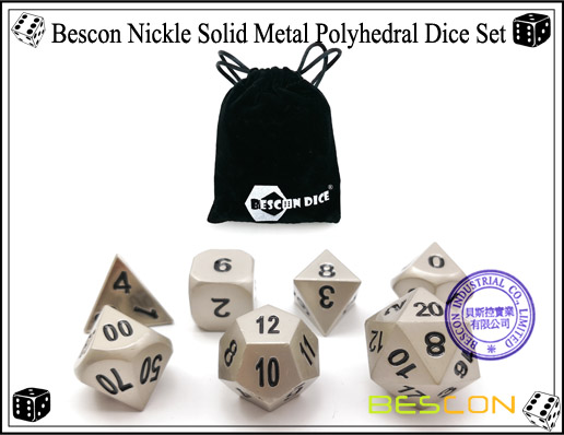 Bescon Nickle Solid Metal Polyhedral Dice Set-5