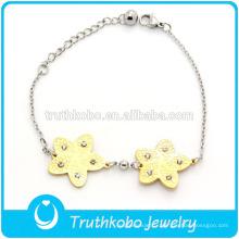 TKB-JB0006 Les bracelets et bracelets en acier au titane bicolore 316L les plus vendus avec étoile en strass CZ