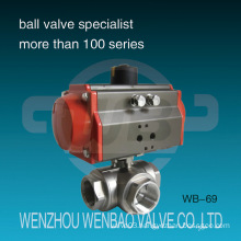 Pneumatic Actuated Three Way Stainless Steel Ball Valve