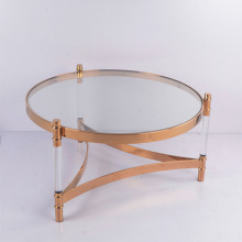 Round stainless steel coffee table with arylic Top