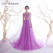 OB96355 off shoulder purple with long train evening gown real sample crystal sequin evening gown