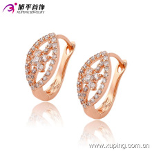 Mode Fantaisie CZ Diamant Or Rose Couleur Imitation Bijoux Boucle D'oreille Huggies-90750