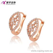 Moda Fantasia CZ Diamante Rosa Ouro Cor Imitação De Jóias Brinco Huggies -90750