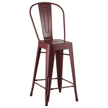 Tolix Bar Metal Frame Dining Chair High Back
