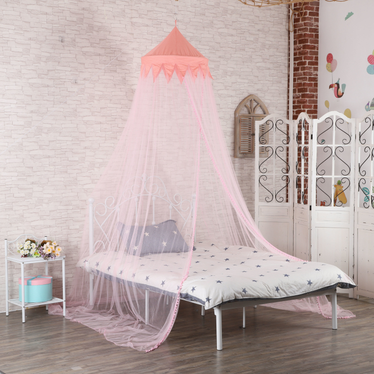 Pink dome mosquito net for single bed
