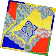 Senhora moda paisley impresso lenço quadrado de seda (hc1315-3)