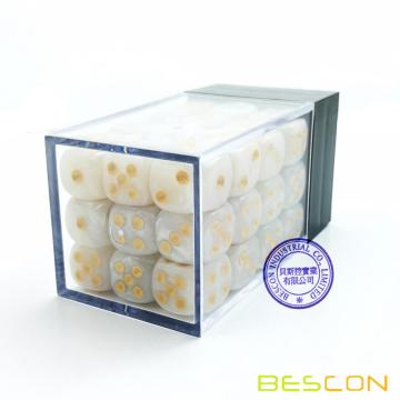 Bescon 12mm 6 Sided Dice 36 in Brick Box, 12mm Six Sided Die (36) Block of Dice, Marble White