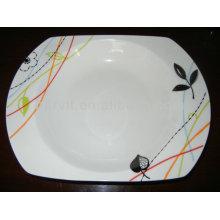 Taille variable Simple Blanc rond Bas et feuilles Plaques en céramique en porcelaine