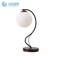 Lampe de table ronde blanche en verre LEDER