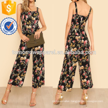 Floral Lace Up Front Top And Wide Leg Pants Set Manufacture Wholesale Fashion Women Apparel (TA4117SS)