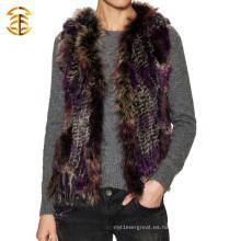 La fábrica del chaleco del invierno de la manera calienta el chaleco verdadero caliente del mapache y de la piel de Rabiit para la muchacha
