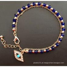 Bracelete de chapeamento de ouro azul diamante de vidro do olho mal (xbl13494)