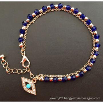 Evil Eye Glass Diamond Blue Gold Plating Bracelet (XBL13494)