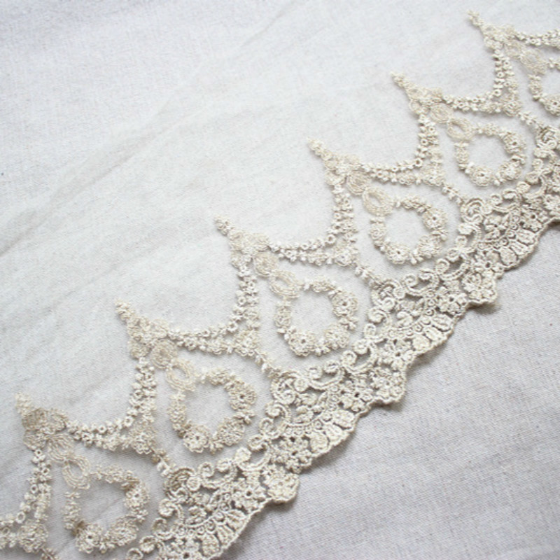 Golden Mesh Embroidery Lace