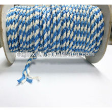 Заплетенная веревочка PP,белый и синий плетеный Канат