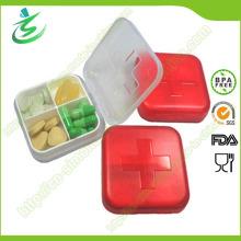 Caja al por mayor de la píldora de la cuadrícula de 4 casos del suizo; Píldora de plástico