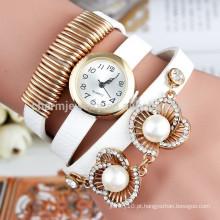Relógios de pulso da pérola da forma das mulheres novas 2015, relógios de forma das senhoras do relógio de quartzo do encanto Relógio de pulso ocasional da pulseira de couro BWL014
