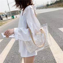 Прозрачная сумка-тоут из ПВХ Нашивка с вышивкой Сумочка с цветами