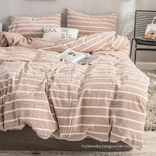 Made in China Home Textile 4 PCS King Bed High Quality Peachpuff Striped Cotton Fabric Bedding Set