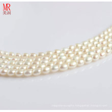 7-8mm White Freshwater Pearl Strands, Rice Shape