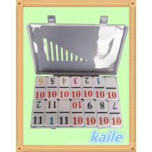 Double 12 Number Thema bunten Domino in Plastikbox