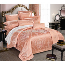 Silk Like Bridal Jacquard Embroidery Quilt Cover Bedding Set Made in China
