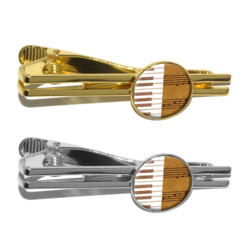 Piano Player Instrument Music Round Golden Clip Clasp