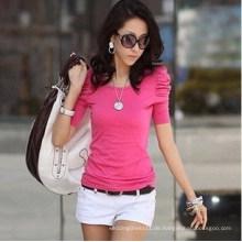 Mode Frauen Sommer Top Blase Ärmel Shirt (MU6619)