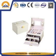 Kit de maquiagem estojo cosmético de couro branco (HB-6605)