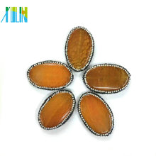Yellow Agate Oval Shape Slice Pendant Crystal Paved Stone Connectors Pendant Jewelry Findings