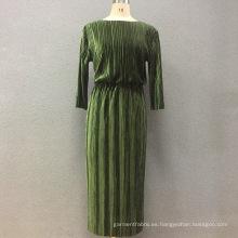 Vestido largo de pana elástica de algodón para mujer
