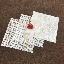 Pierre de mosaïque de perles de coquillage blanc