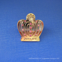 Corona de la forma de la solapa alfiler de latón insignia con diamante (gzhy-LP-031)