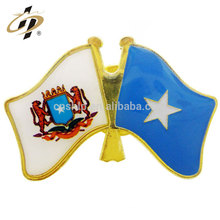 Free sample custom zinc alloy enamel with epoxy metal flag lapel pin in gold plated