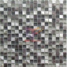 Grey Glass Mix Aluminium Mosaic Tile (CFA71)