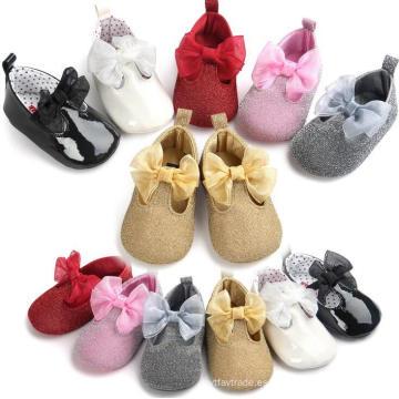 Zapatillas para niños pequeños 0-1 años Mocasines para bebés Zapatillas Bowknot 6 Color