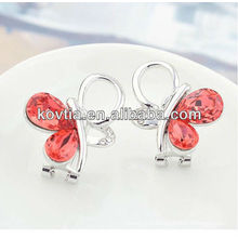 Latest fashion earrings red crystal butterfly earring jewelry making white gold cuff earring