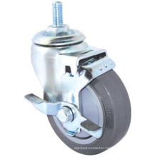 Threaded Stem PU Caster with Side Brake (Gray)(Flat Surface) (3304382)