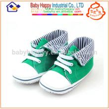 Zapatos casusal verdes de la tela del bebé del niño de los zapatos de lona de los zapatos de bebé del precio bajo